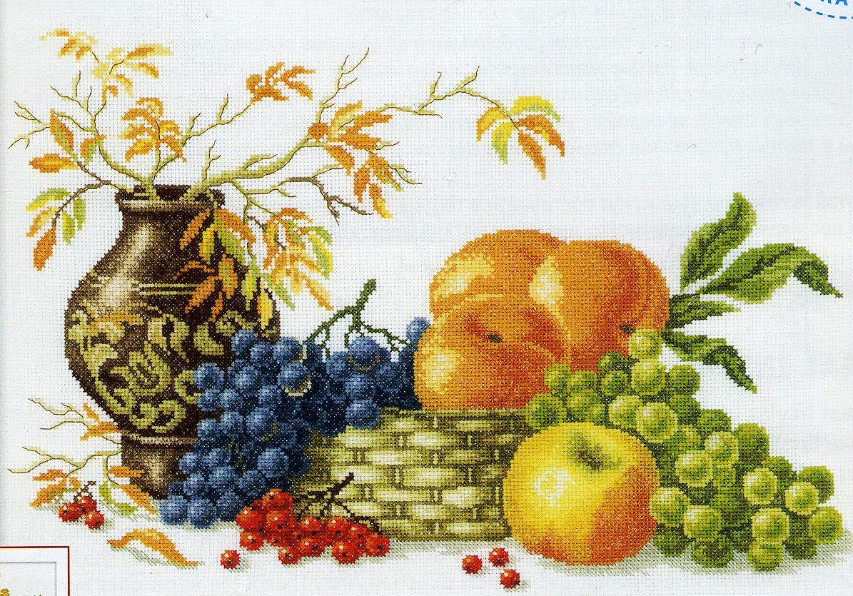 схема вышивки крестом фрукты виноград
